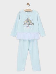 Pyjama bleu en velours avec volant pailleté petite fille SYRETTE / 19H5PFK3PYJC213