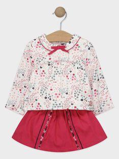 Ensemble fleuri écru et rose bébé fille TADAPHNE / 20E1BFC1ENS001