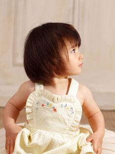 Robe chasuble jaune à rayures brodée bébé fille ZANAELLE / 21E1BFO1CHSB104