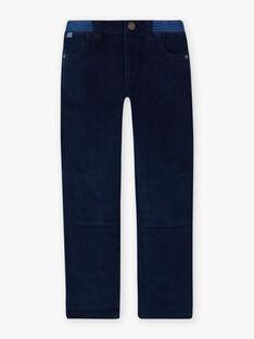Pantalon bleu nuit empiècements enfant garçon BUXUAGE1 / 21H3PGF2PAN705