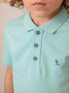 Polo manches courtes uni bleu turquoise enfant garçon ZYPOLAGE4 / 21E3PGW2POLC215