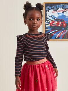 T-shirt manches longues noir brodé enfant fille BRITIZETTE / 21H2PFM2TML090