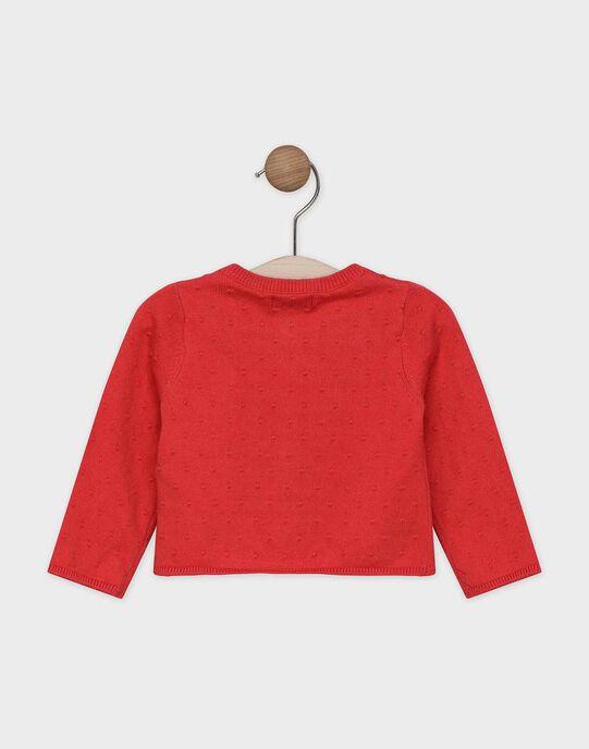 Cardigan rouge en tricot fantaisie bébé fille SAANAIS / 19H1BF21CARD313