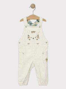 Salopette bébé garçon en velours côtelé beige  TAABBES / 20E1BGB1SAL632