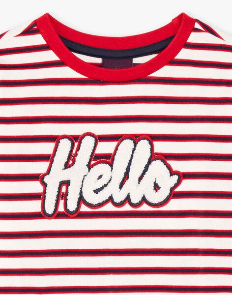 T-shirt manches longues à rayures lettrage Hello enfant garçon BEBILAGE / 21H3PG52TML001