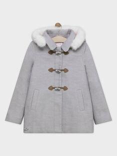 Manteau gris chiné à capuche fille SOUMINETTE / 19H2PFF2MAN943