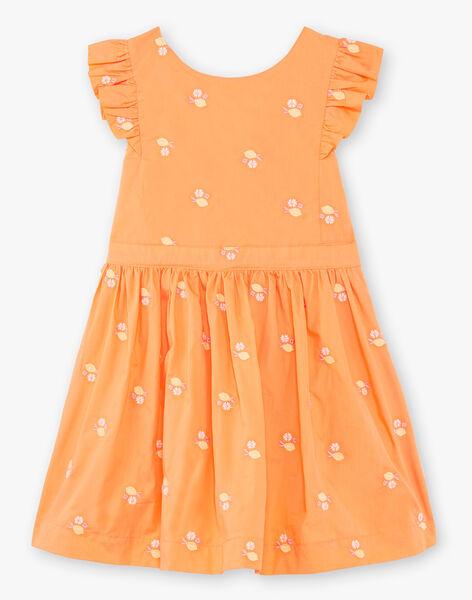 Robe orange à volants et broderies citrons enfant fille ZIBRODETTE / 21E2PFO1CHS406