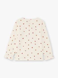 T-shirt manches longues écru imprimé fantaisie enfant fille BUTIETTE / 21H2PFJ3TML001