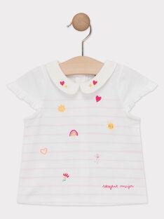 T-shirt écru à rayures bébé fille  TAIMEE / 20E1BFG1BRA001