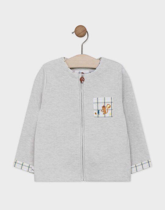 Gilet zippé bébé garçon couleur lin SABARNEY / 19H1BG21GILA016