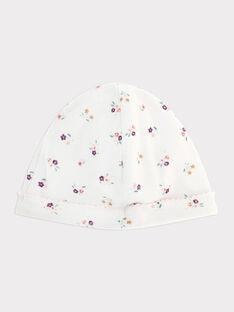 Bonnet naissance blanc en rib bébé fille SYANGIE / 19H0AF12BNA000