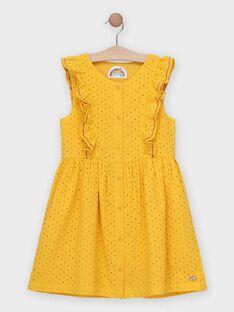 Robe en broderie anglaise jaune fille  TOBIETTE / 20E2PFG1CHS010