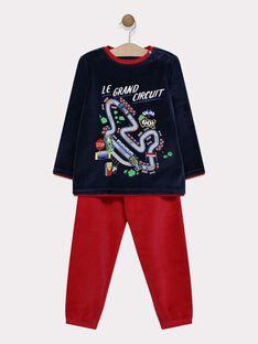 Pyjama en velours bleu et rouge animation circuit de voiture ludique petit garçon SEVOITAGE / 19H5PG51PYJC204