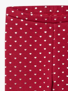 Legging rouge bordeaux fourré à imprimé coeurs enfant fille BROLIETTE 3 / 21H4PFF3CTT503