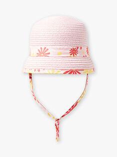 Chapeau en paille rose bébé fille TYGWEN / 20E4BFZ1CHA312