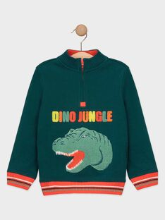 Pull vert brodé dinosaure garçon TADIAGE / 20E3PGB1PULG611