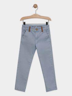 Pantalon bleu grisé en satin garçon SAMOTAGE / 19H3PG61PAN205