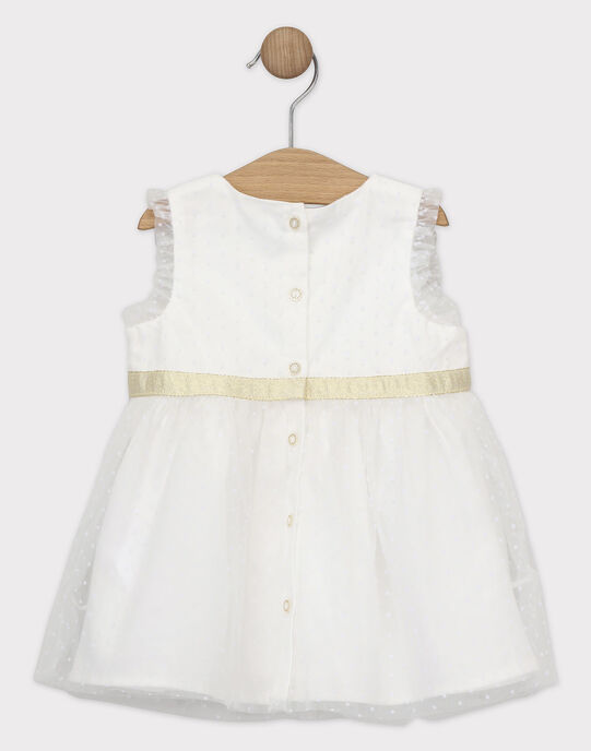 Robe en tulle plumetis ecrue bébé fille SAZORA / 19H1BFP1CHS001