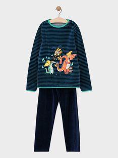 Pyjama en velours bleu et bas rayé dragons petit garçon SEDRAGAGE / 19H5PGK4PYJ201