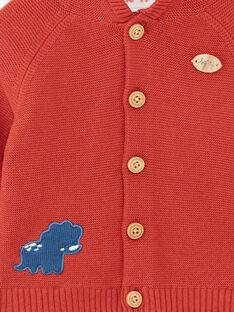 Gilet à capuche rouge brique ZAECTOR / 21E1BGB1GIL506