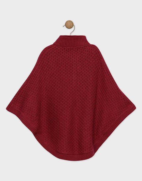 Poncho pourpre tricot fantaisie fille SOIBILETTE / 19H2PFI1PONF511
