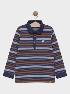 Polo bleu à rayures garçon SARAYAGE / 19H3PG61POLC203
