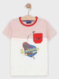 Tee-shirt manches courtes blanc à rayures garçon  TEVIAGE / 20E3PGH1TMC000