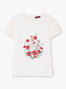 T-shirt écru à motifs fantaisie et dos en voile enfant fille BATELETTE / 21H2PF11TMC001