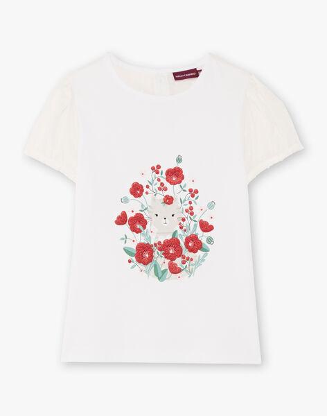 T-shirt écru imprimé détails dentelle enfant fille BATELETTE / 21H2PF11TMC001