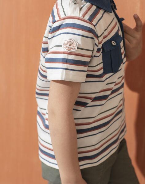 Polo manches courtes à rayures bleu enfant garçon TOMITAGE / 20E3PGQ1POL001