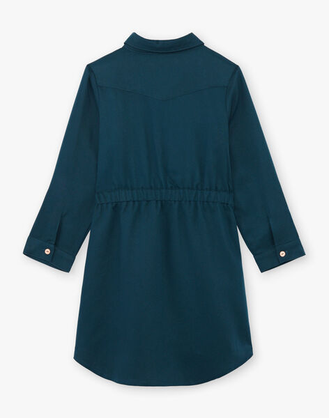 Robe saharienne bleu canard enfant fille BRORECETTE3 / 21H2PFB8ROB714