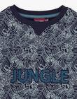 Sweatshirt bleu motif jungle enfant garçon BUWAGE1 / 21H3PGB2SWE070