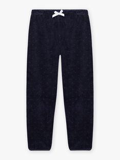 Ensemble pyjama bleu nuit en velours motif fantaisie enfant fille BEBYGNETTE / 21H5PF73PYJ705