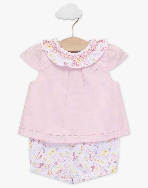 Combishort rose imprimé fleuri bébé fille TALOUANE / 20E1BFJ1CBL321