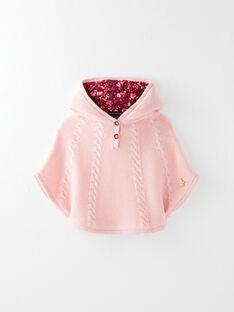 Poncho rose à capuche en tricot point mousse VAEMILIE / 20H1BF61PON301