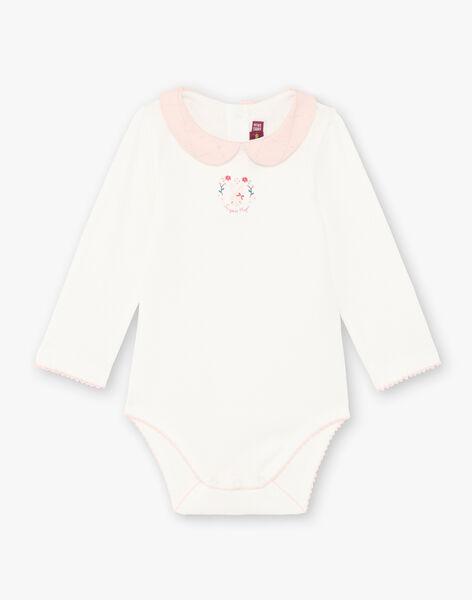 Body écru col Claudine motif lapin fantaisie bébé fille BAGALA / 21H1BF91BOD001