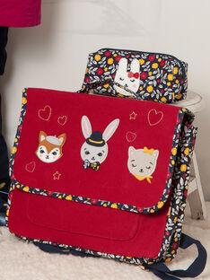 Cartable rouge motif fantaisie fille BICARETTE / 21H4PF51BES050