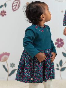 Robe manches longues bleu canard imprimé fleuri bébé fille BAGEORGIE / 21H1BF91ROB714