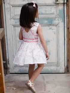 Robe blanche à imprimé fleuri coloré enfant fille TYVOETTE / 20E2PFJ4CHS000