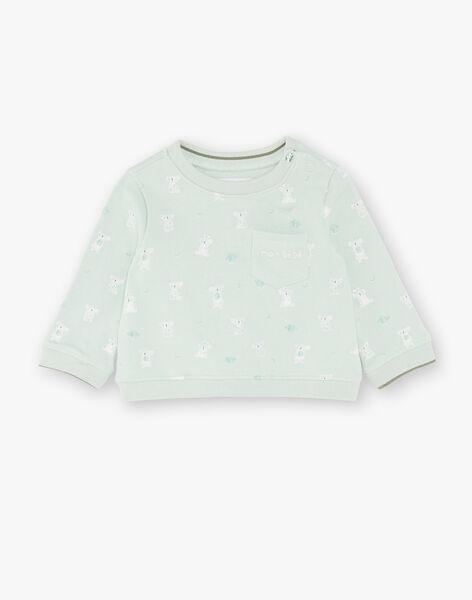 Sweat shirt imprimé vert et écru ZAASHER / 21E1BG71SWEG619