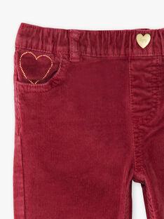 Pantalon bordeaux en velours côtelé  VELOURETTE 2 / 20H2PFG1PAND302