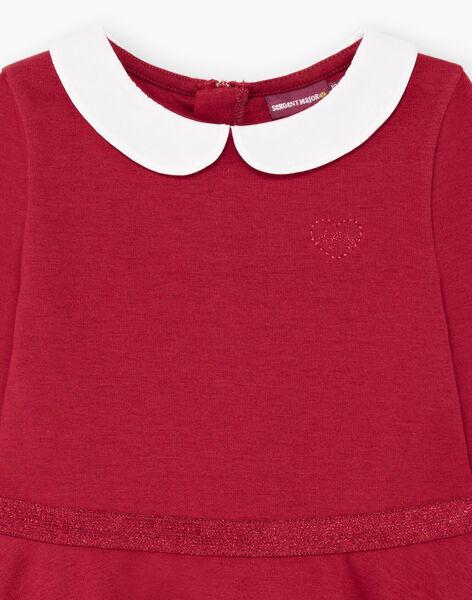 Robe manches longues rouge bordeaux col claudine enfant fille BROCOLETTE2 / 21H2PFB5ROB719