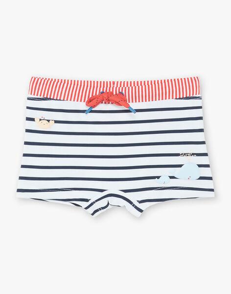 Short de bain rayé écru et bleu marine bébé garçon ZIROB / 21E4BGR1MAIC214