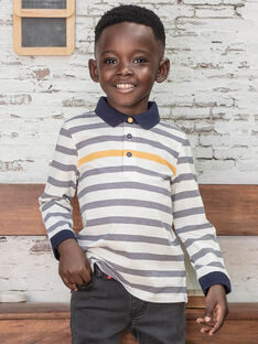 Polo écru à rayures bleu marine enfant garçon BUXAGE1 / 21H3PGB2POL001