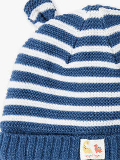 Bonnet bleu rayé point mousse ZUBAJIR / 21E4BGM1BONC230