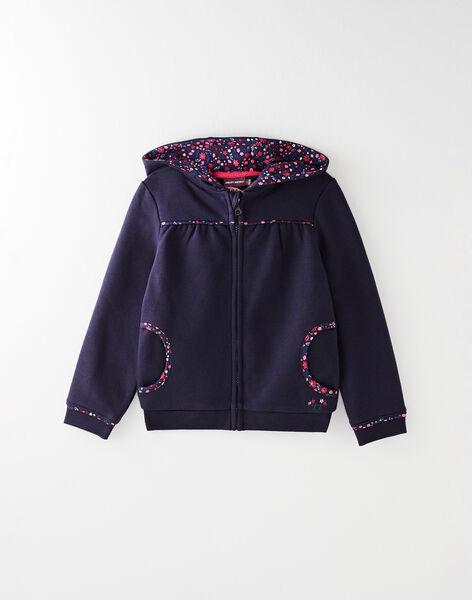Veste de jogging à capuche marine avec détails fleuris VEBOGETTE / 20H2PF72JGH705