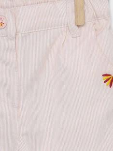 Pantalon rose pâle broderies fleurs bébé fille RAFLORINE / 19E1BFC1PAND300