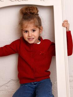Cardigan rose maille fine enfant fille ZLADETTE3 / 21E2PFK3CAR719