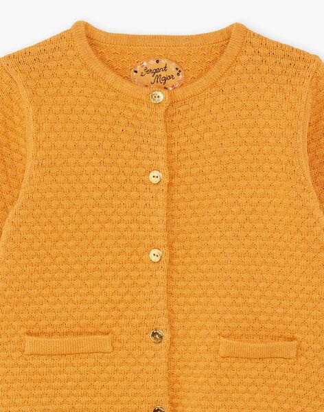 Cardigan jaune moutarde en maille enfant fille BRODIGETTE1 / 21H2PFB3CARB106