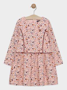 Robe doublée rose clair imprimée fille SOIPONETTE / 19H2PFI1ROB311
